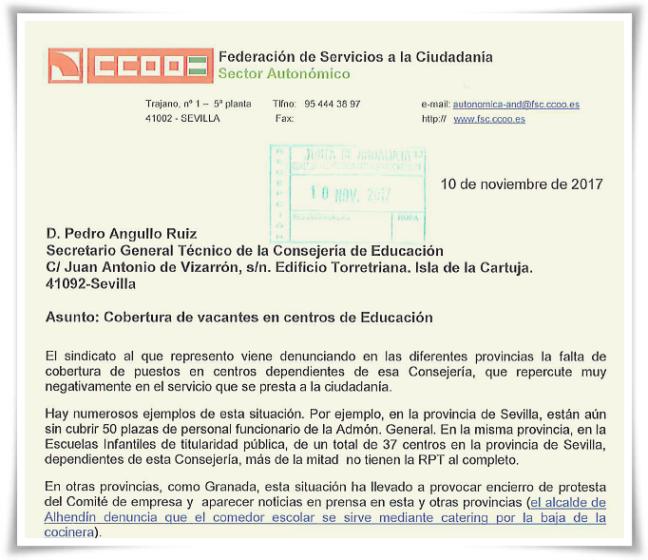 escrito CCOO cob plazas Educ 101117