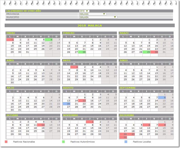 Calendario fiestas 2018 bg
