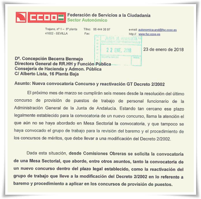 escrito CCOO petición nuevo Concurso méritos 230118