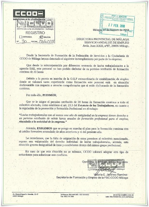 Escrito FSC CCOO sobre FORMACIÓN en Agencia SAE hr