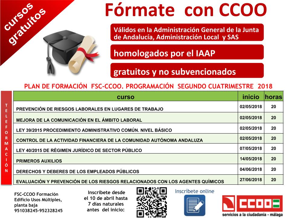 Formate Con Ccoo Te Ofrecemos 8 Cursos Gratuitos Y Homologados Durante El 2º Cuatrimestre Ya Puedes Inscribirte Ccoo Autonomica Andalucia