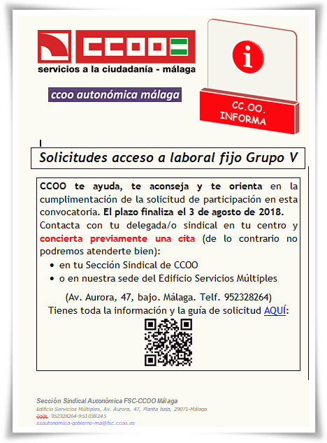 CCOO Informa citas solicitud G V 2018