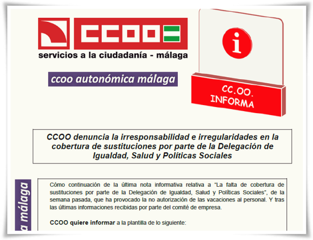 CCOO Informa Sustituciones y vacaciones Isps 170718 bg