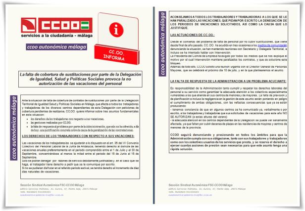 CCOO Informa Sustituciones y vacaciones ISPS verano 2018 bg