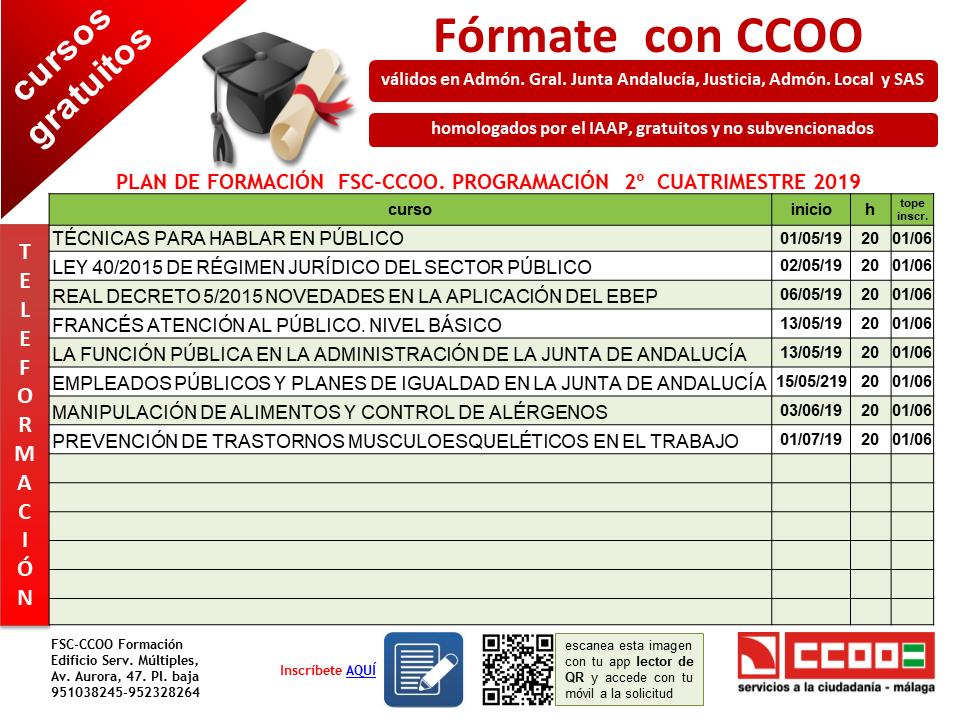 Formacion Fsc Ccoo Andalucia Ccoo Autonomica Andalucia