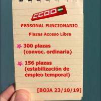 📌Convocadas 456 plazas (300 + 156) en Acceso libre para personal funcionario de la Junta de Andalucía. Plazo hasta el 21/11/2019