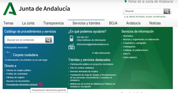 Acceso a Presentación Electrónica General (Registro Telemático), con certificado digital