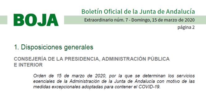 BOJA Servicios esenciales Junta de Andalucía en período Alerta